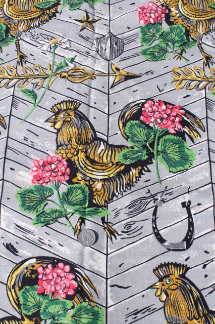 40s 50s Vintage Print Cotton Barkcloth Fabric Roosters