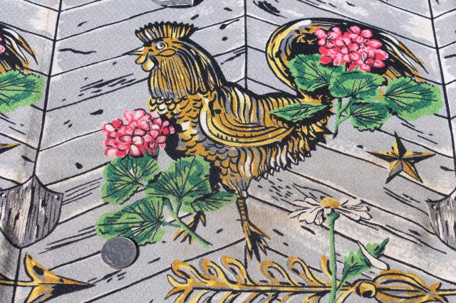40s 50s vintage print cotton barkcloth fabric - roosters, pink geraniums, grey barn wood