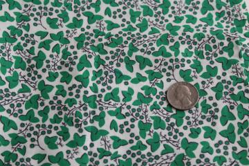 40s 50s vintage printed cotton fabric, green ivy tiny print 36 inches wide