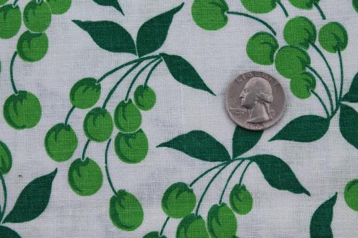 40s 50s vintage printed cotton feed sack fabric, green cherries fruit print