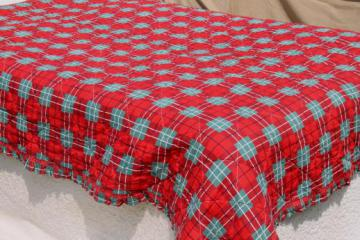 40s 50s vintage red & green tartan plaid quilted cotton comforter quilt w/ perky ruffle