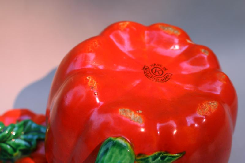 40s 50s vintage red tomato ceramic teapot, Occupied Japan hand painted china