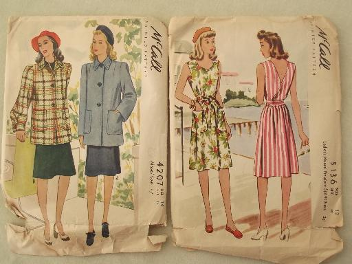40s 50s vintage sewing patterns lot, retro dresses, aprons etc.