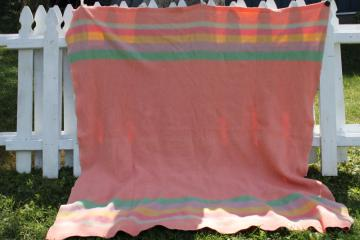 40s 50s vintage wool camp bed blanket candy striped jade green, blue, yellow on pink