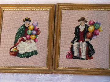 40's framed needlepoints, Balloon Man & Lady