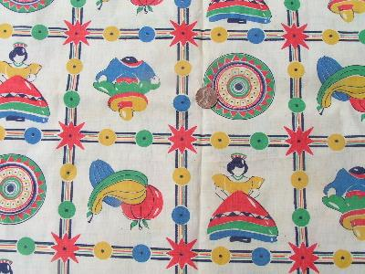 40's print cotton fabric, Mexican theme