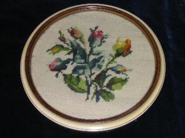 40s round frame needlepoint, bouquet roses