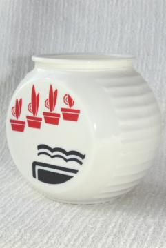 40s vintage Anchor Hocking ivory glass kitchen range jar, art deco red & black cactus pots