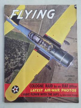 40s vintage Flying / Industrial Aviation magazine w/ WWII airplane photos