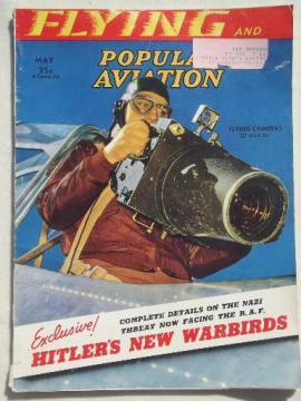 40s vintage Flying & Popular Aviation magazine w/ many old airplane photos