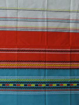 40s vintage Mexican colors rick-rack border print cotton fabric