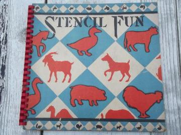 40s vintage Stencil Fun book, large and small stencils farm animals and pets