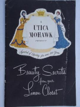 40s vintage Utica Mohawk catalog, bed sheet types, cotton fabric swatches