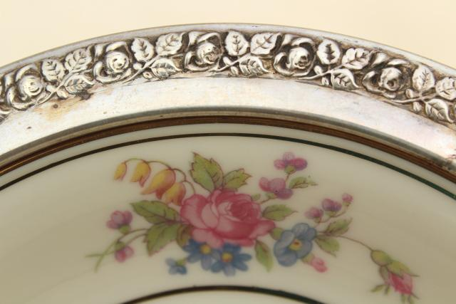 40s vintage Wallace sterling silver rimmed Queensrose - Germany china bowl