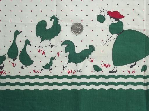 40s vintage border print cotton fabric, lady feeding chickens print