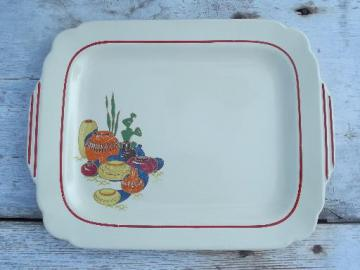 40s vintage china platter, old Mexico theme decal, Mexican pots and cactus