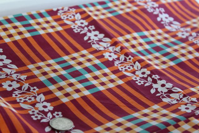 40s vintage cotton fabric - burgundy, tangerine orange & teal green plaid w/ flowers