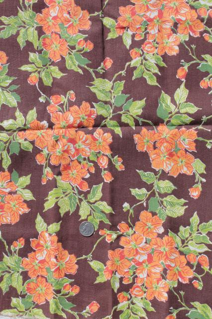 40s vintage cotton flour sacks, chocolate brown & orange flowered print feedsack fabric
