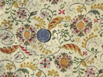 40s vintage cotton quilting fabric, Early American style floral print
