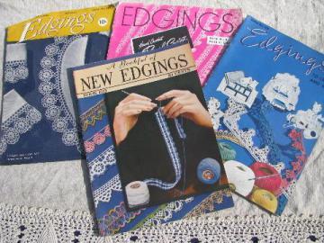 40s vintage crochet booklets lot, lacy trims, lace edging patterns