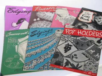 40s vintage crochet pattern booklets lot, lace edgings, doilies, potholders etc.