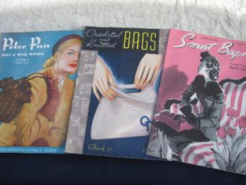 40s vintage crochet pattern booklets lot, stylish hats, bags and purses