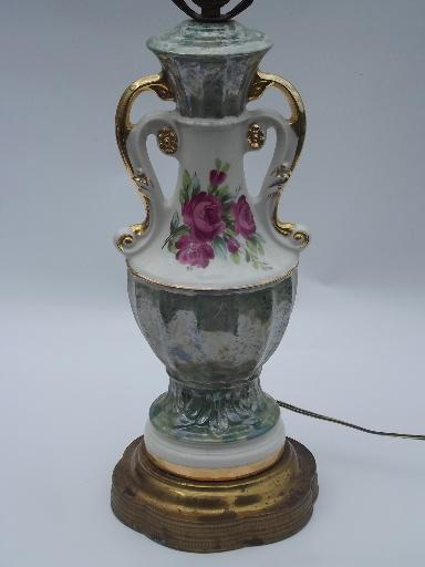 40s Vintage Ornate Double Handled China Lamp Green Marble