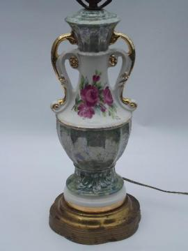 40s vintage ornate double-handled china lamp, green marble and pink roses
