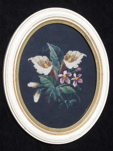 40s vintage pair of needlepoint pictures in oval frames, floral bouquets
