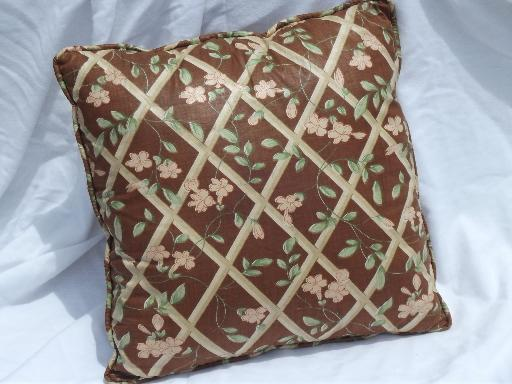 40s vintage polished cotton chintz floral print chair scatter pillow
