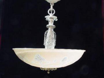 40's vintage pressed glass hanging light