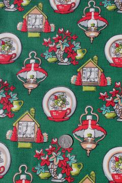 40s vintage print cotton barkcloth fabric, country cottage clocks & lamps & flowers