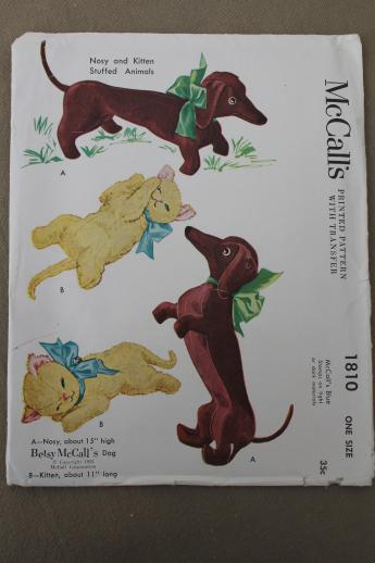 40s vintage sewing patterns lot stuffed toys, animals, clown dolls ...