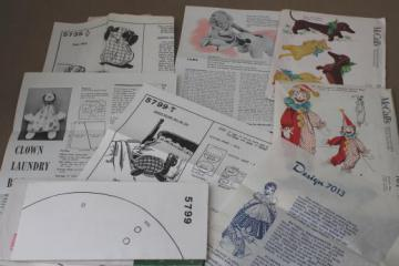 40s vintage sewing patterns lot stuffed toys, animals, clown dolls & weiner dogs