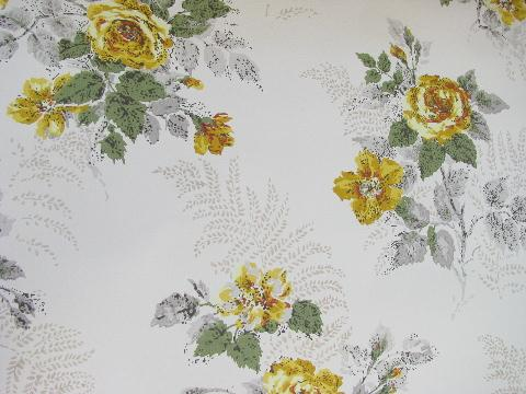 40s Vintage Yellow Roses Floral Print Wallpaper Huge Lot Old