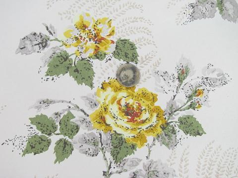 40s vintage yellow roses floral print wallpaper huge lot old 40s vintage yellow roses floral print wallpaper huge lot old flowered wall paper mightylinksfo