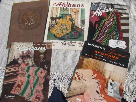 40s-50 vintage crochet booklets lot, crocheted afghan patterns