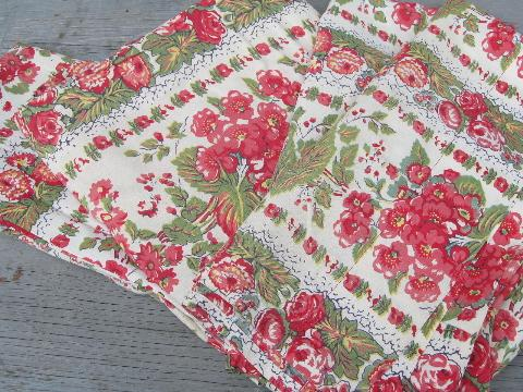 40s-50s vintage cottage floral curtains, red geraniums and daisies print