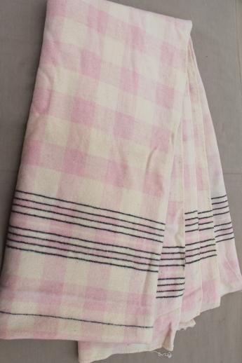 40s 50s vintage plaid wool camp blanket double long fold over blanket. Black Bedroom Furniture Sets. Home Design Ideas