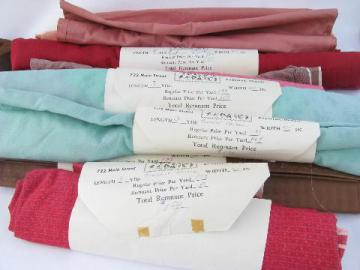 40s-50s-60s vintage fabric remnant lengths, patterened weave cotton shirting