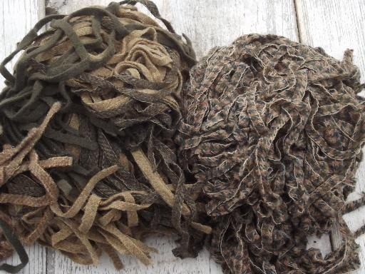 5 lbs wool strips for rug hooking, huge lot pre-cut wool fabric in vintage colors