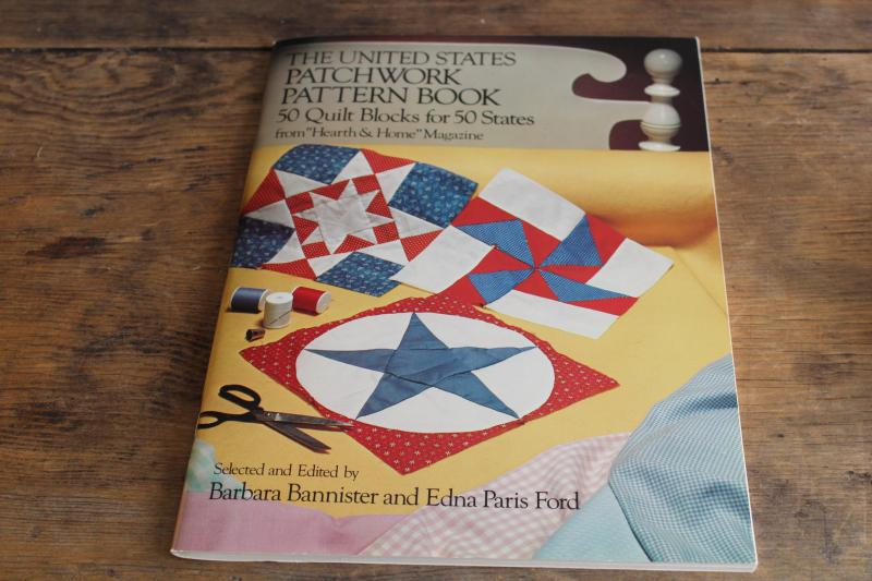 50 US states quilt block patchwork designs pattern templates, vintage Dover book