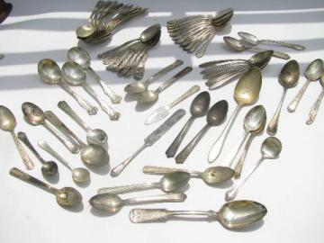 50+ vintage antique silver plate spoons, old flatware silverware lot