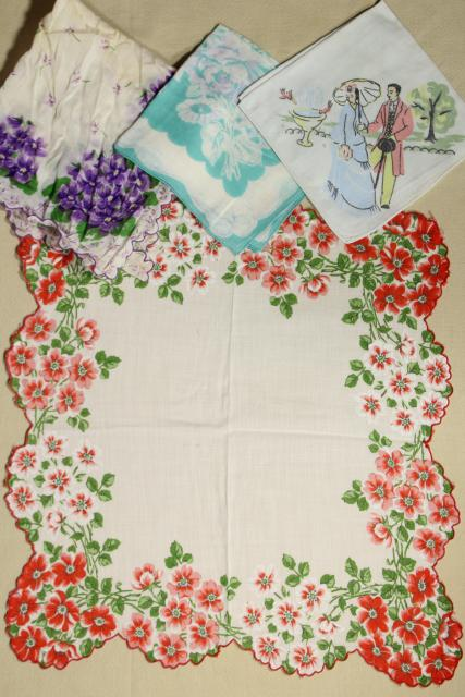 50+ vintage printed cotton handkerchiefs, huge lot of hankies w/ flowers, holiday prints