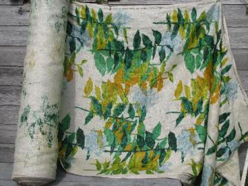 50 yds 60s vintage natural flax linen fabric, tropical palms print