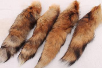 50s 60s furs, fluffy soft red fox fur tails for cabin decor or vintage charm fashion accessories