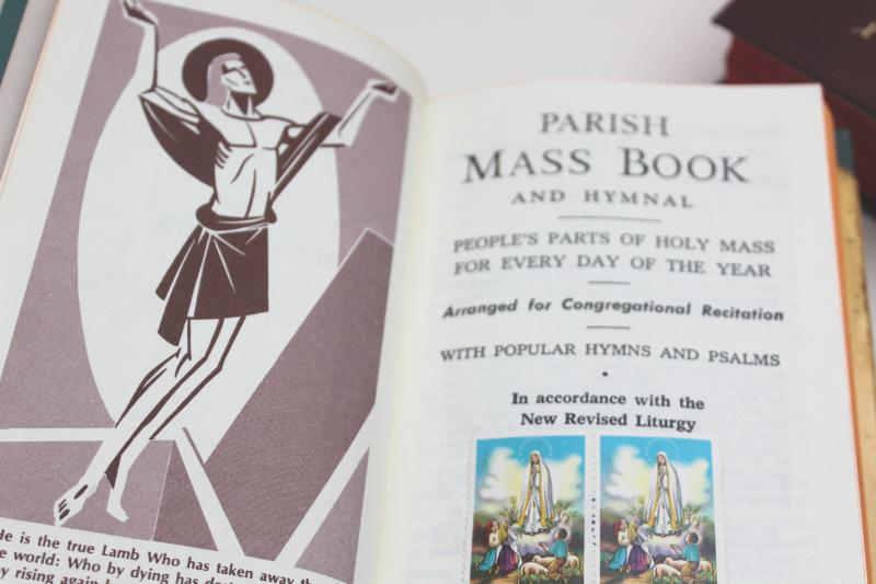 50s 60s vintage Catholic Mass book, Daily & Sunday missals, Latin pre-Vatican II