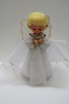 50s 60s vintage Christmas decor, angel girl doll w/ Silent Night music box Japan