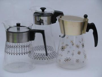 50s 60s vintage Pyrex glass coffee carafe pitchers lot, silver and copper