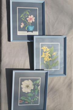 50s 60s vintage Turner style framed floral prints, mod flowers on steel grey